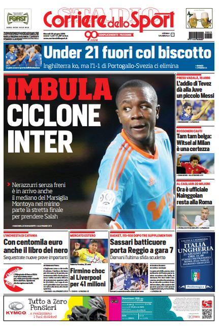 Portada de Corriere dello Sport del 25 de junio de 2015