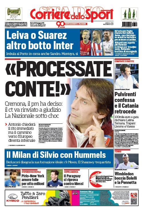 Portada de Corriere dello Sport del 30 de junio de 2015