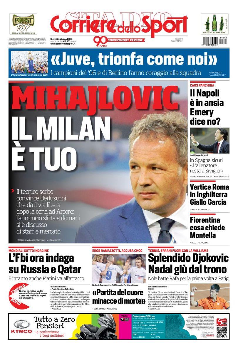 Portada de Corriere dello Sport del 4 de junio de 2015