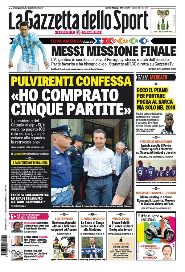 Portada de Gazzetta dello Sport del 30 de junio de 2015