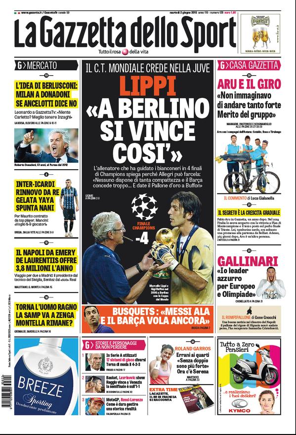 Portada de Gazzetta dello Sport del  de junio de 2015