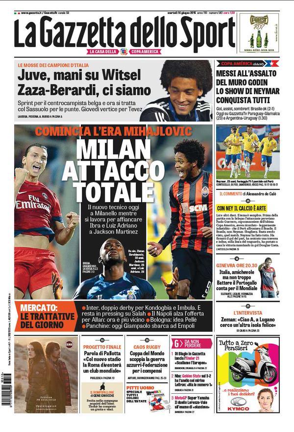 Portada de La Gazzetta dello Sport del 16 de junio de 2015
