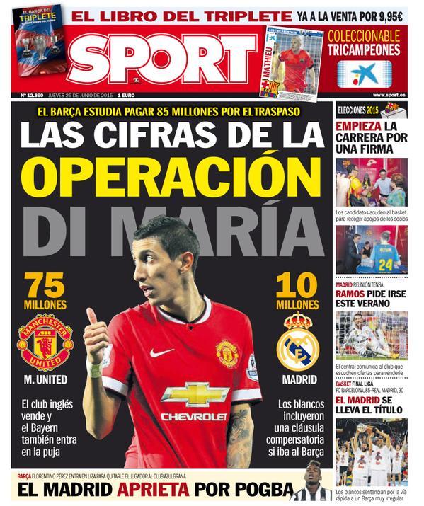 Portada de Sport del 25 de junio de 2015