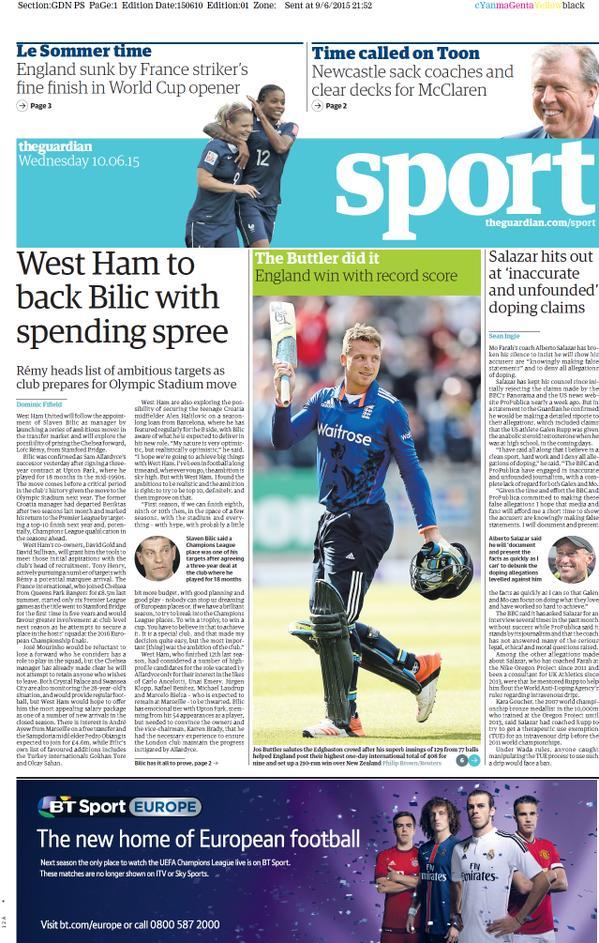 Portada de The Guardian del 10 de junio de 2015
