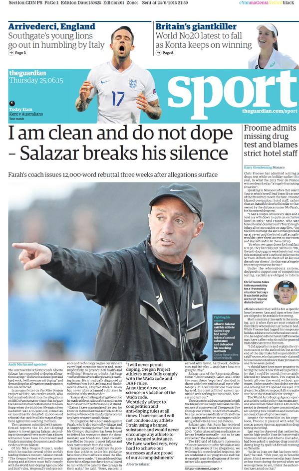 Portada de The Guardian del 25 de junio de 2015