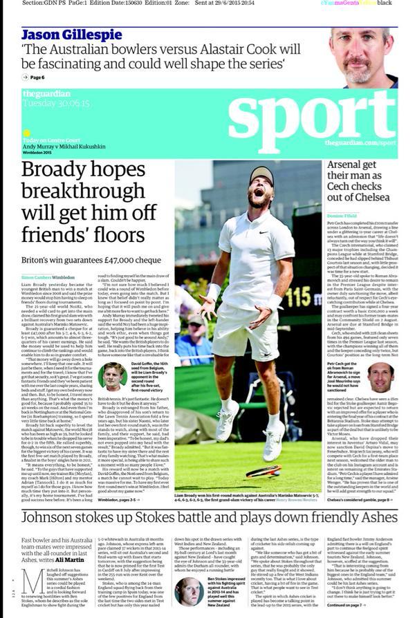 Portada de The Guardian del 30 de junio de 2015