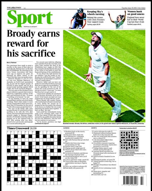 Portada de The Times del 30 de junio de 2015