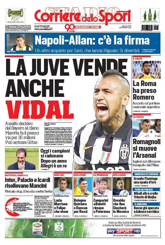 Portada de Corriere Dello Sport del 16 de julio de 2015