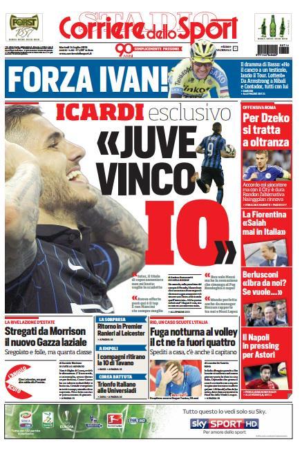 Portada de Corriere dello Sport del 14 de julio de 2015
