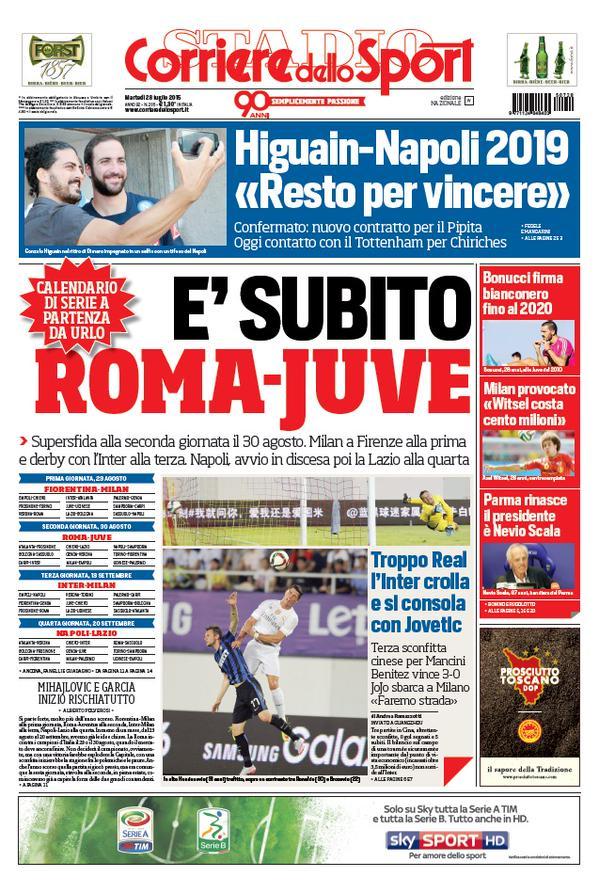 Portada de Corriere dello Sport del 28 de julio de 2015