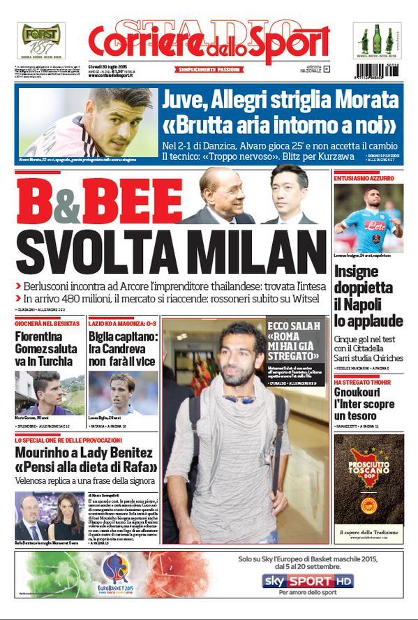 Portada de Corriere dello Sport del 30 de julio de 2015