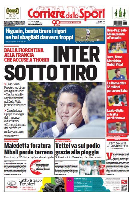 Portada de Corriere dello Sport del 6 de julio de 2015