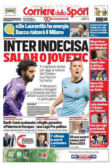 Portada de Corriere dello Sport del 9 de julio de 2015