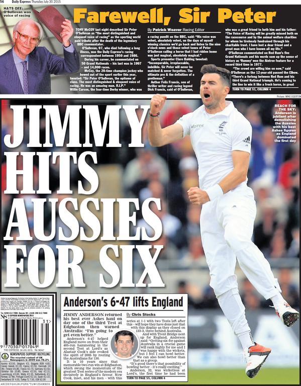 Portada de Daily Express del 30 de julio de 2015