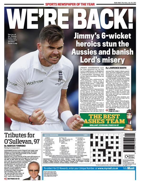 Portada de Daily Mail del 30 de julio de 2015