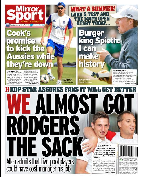 Portada de Daily Mirror del 16 de julio de 2015