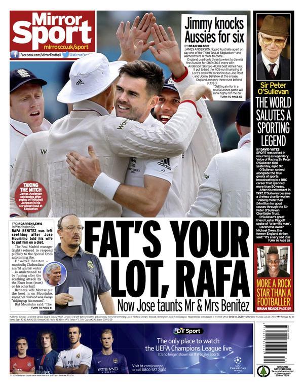 Portada de Daily Mirror del 30 de julio de 2015