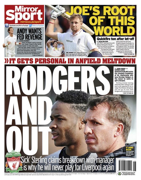Portada de Daily Mirror del 9 de julio de 2015