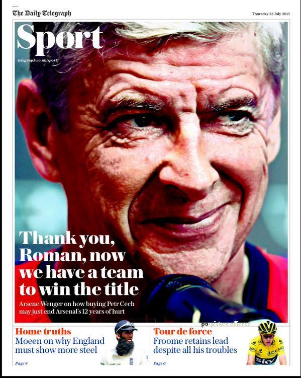 Portada de Daily Telegraph del 23 de julio de 2015