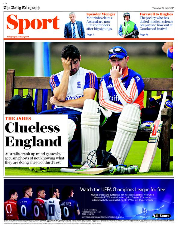 Portada de Daily Telegraph del 28 de julio de 2015