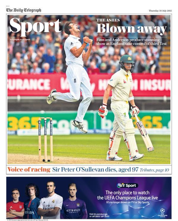 Portada de Daily Telegraph del 30 de julio de 2015