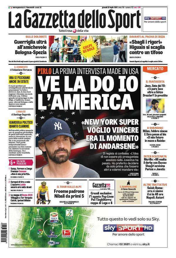 Portada de Gazzeta dello Sport del 23 de julio de 2015