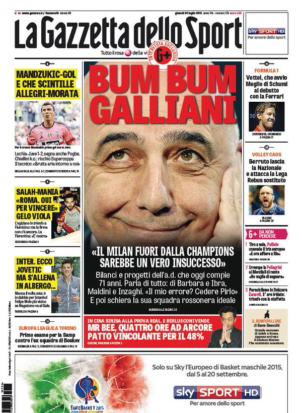 Portada de Gazzetta Dello Sport del 30 de julio de 2015