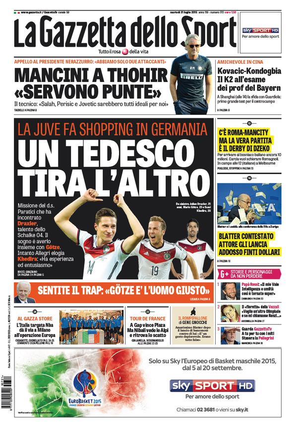 Portada de Gazzetta dello Sport del 21 de julio de 2015