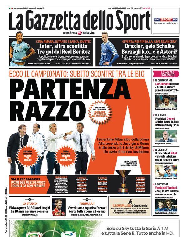 Portada de Gazzetta dello Sport del 28 de julio de 2015