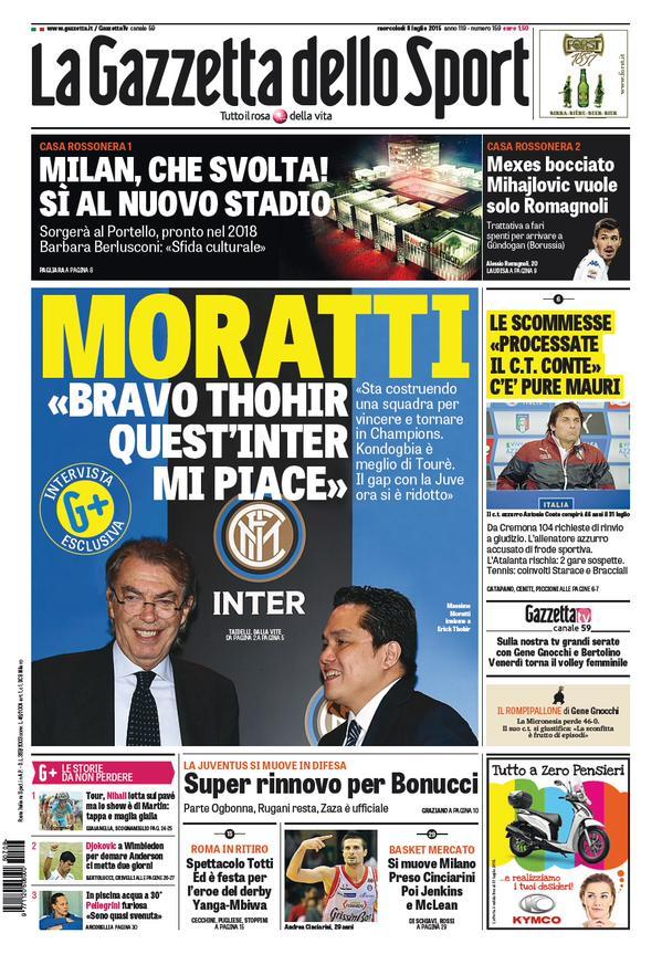 Portada de Gazzetta dello Sport del 8 de julio de 2015