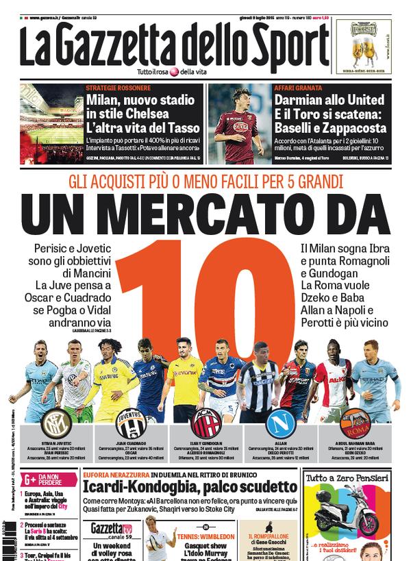 Portada de Gazzetta dello Sport del 9 de julio de 2015