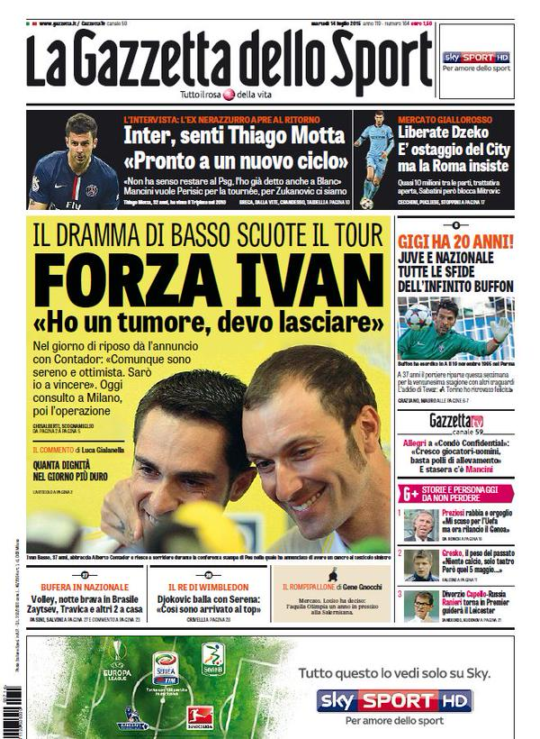 Portada de La Gazzetta Dello Sport del 14 de julio de 2015