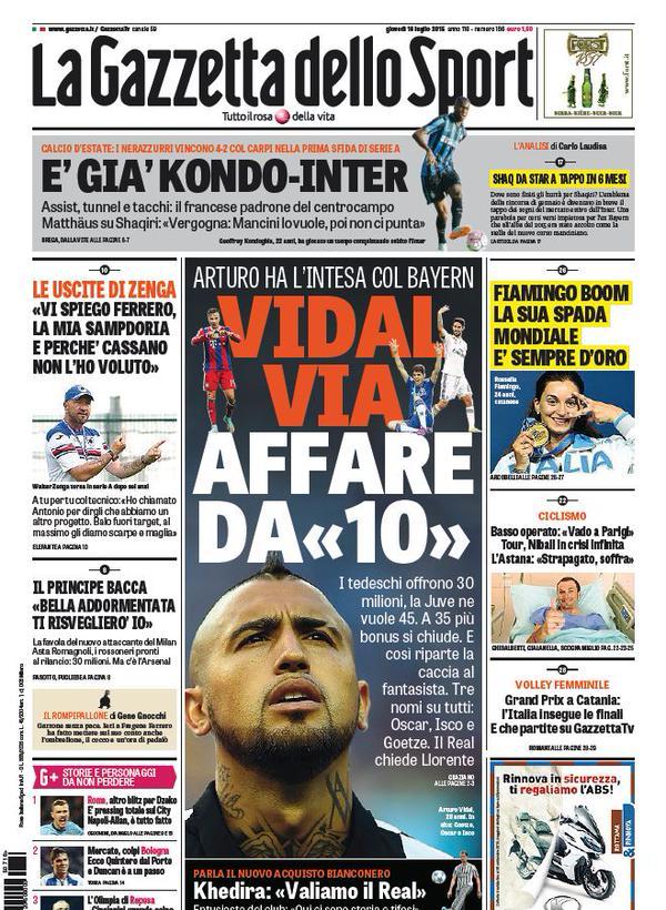 Portada de La Gazzetta Dello Sport del 16 de julio de 2015
