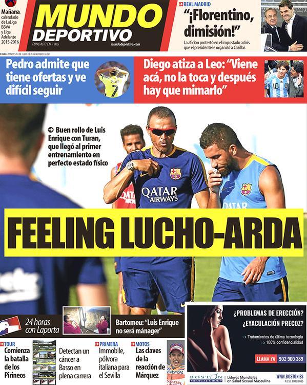Portada de Mundo Deportivo del 14 de julio de 2015
