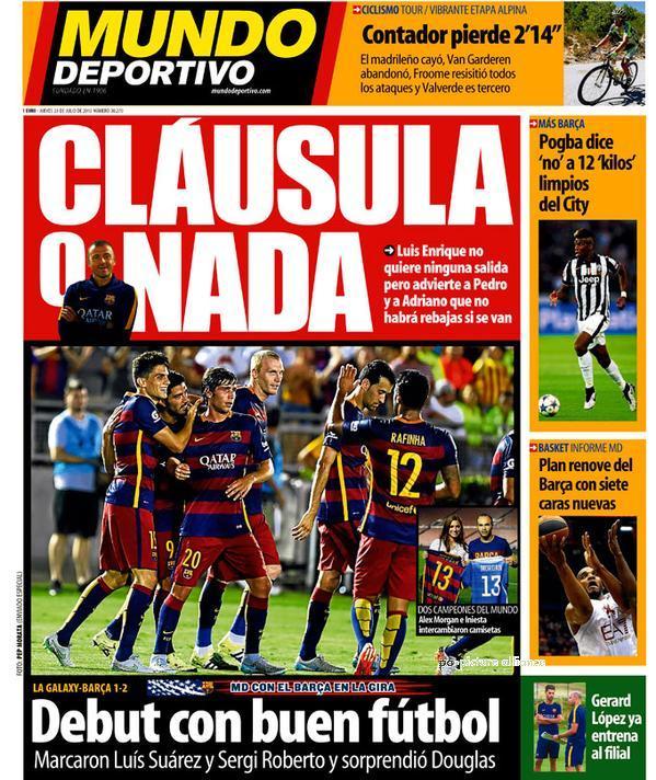 Portada de Mundo Deportivo del 23 de julio de 2015