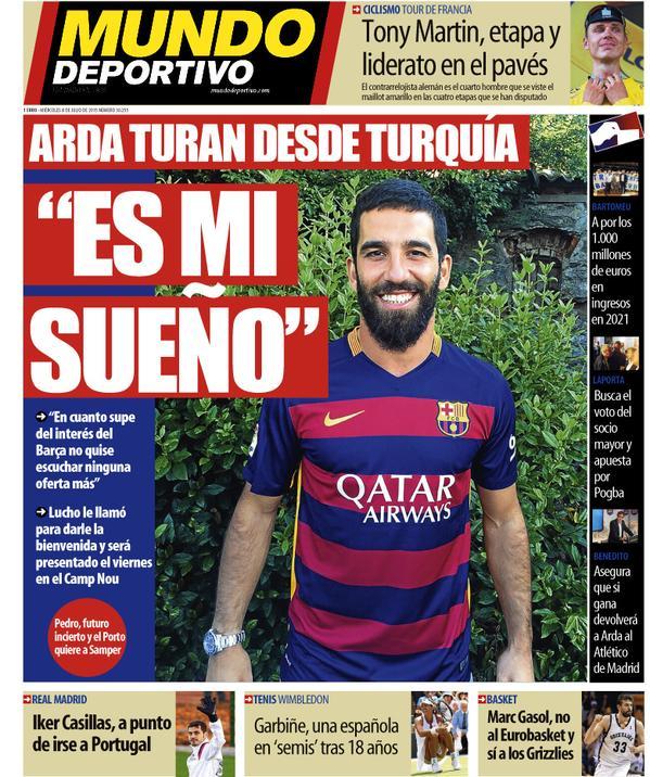 Portada de Mundo Deportivo del 8 de julio de 2015