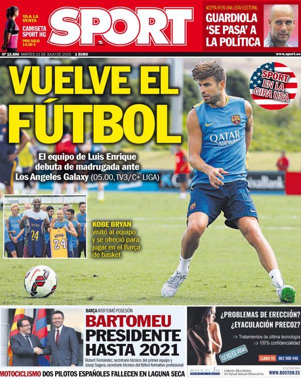 Portada de Sport del 21 de julio de 2015