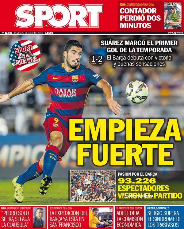 Portada de Sport del 23 de julio de 2015