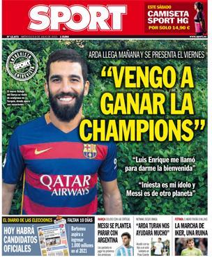 Portada de Sport del 8 de julio de 2015