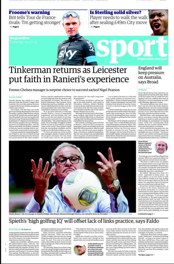 Portada de The Guardian del 13 de julio de 2015