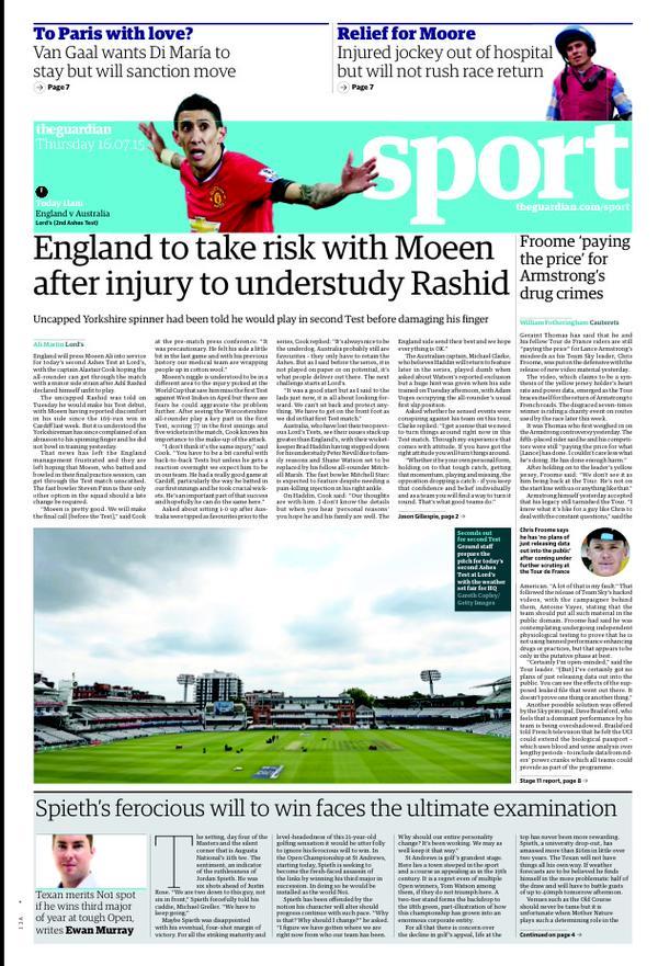Portada de The Guardian del 16 de julio de 2015