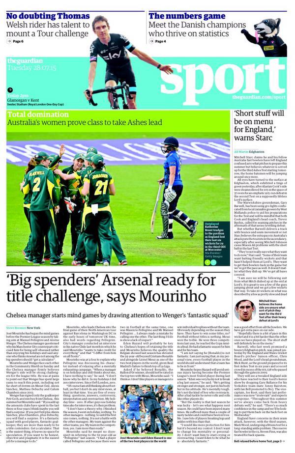 Portada de The Guardian del 28 de julio de 2015