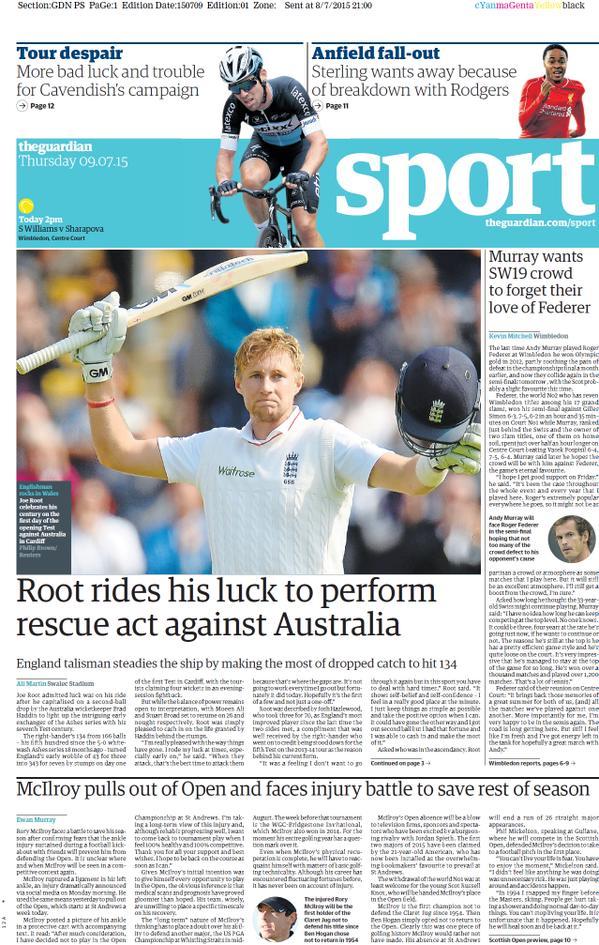 Portada de The Guardian del 9 de julio de 2015