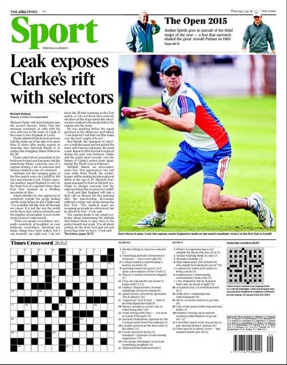 Portada de The Times del 16 de julio de 2015
