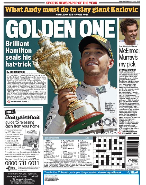 Portada del Daily Mail del 6 de julio de 2015