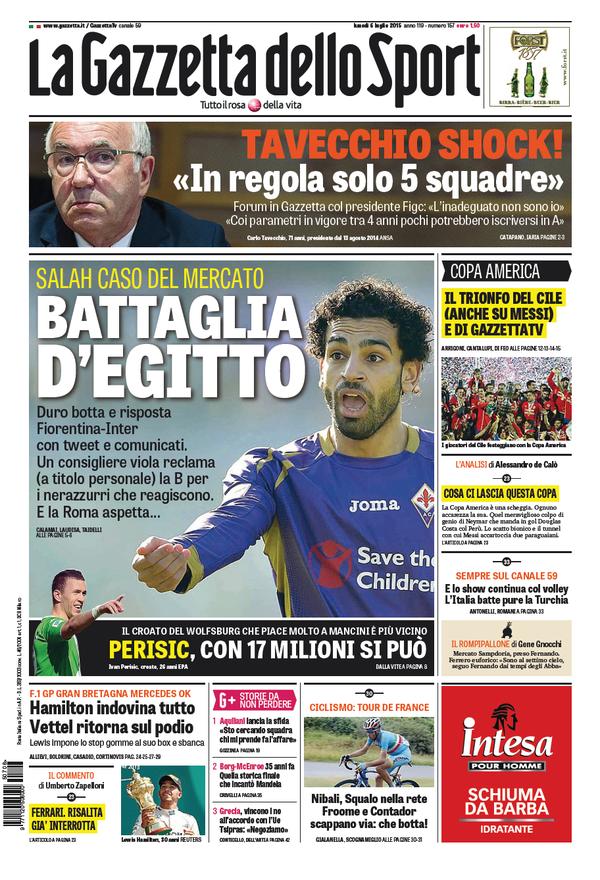 Portada del Gazzetta dello Sport del 6 de julio de 2015