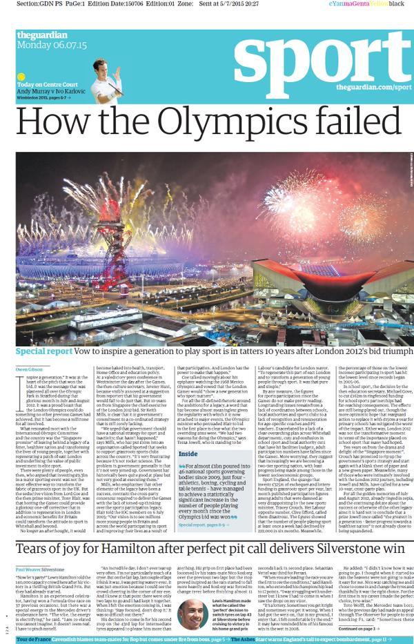 Portada del The Guardian del 6 de julio de 2015