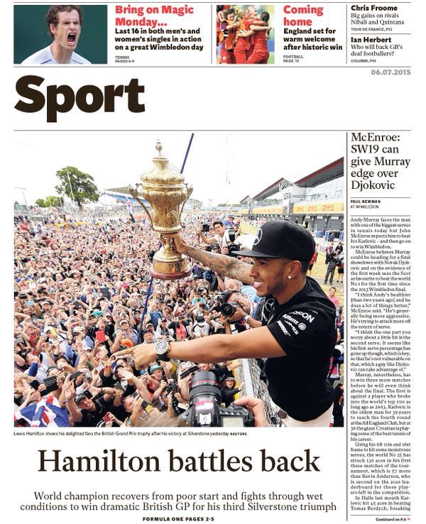 Portada del The Independent del 6 de julio de 2015