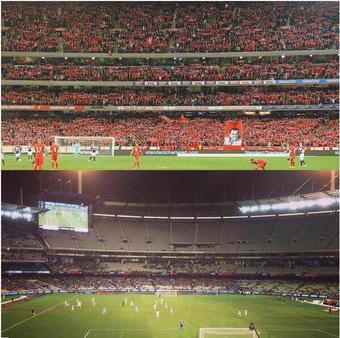 En la imagen superior partido de la gira del Liverpool, en la inferior, partido del Manchester City