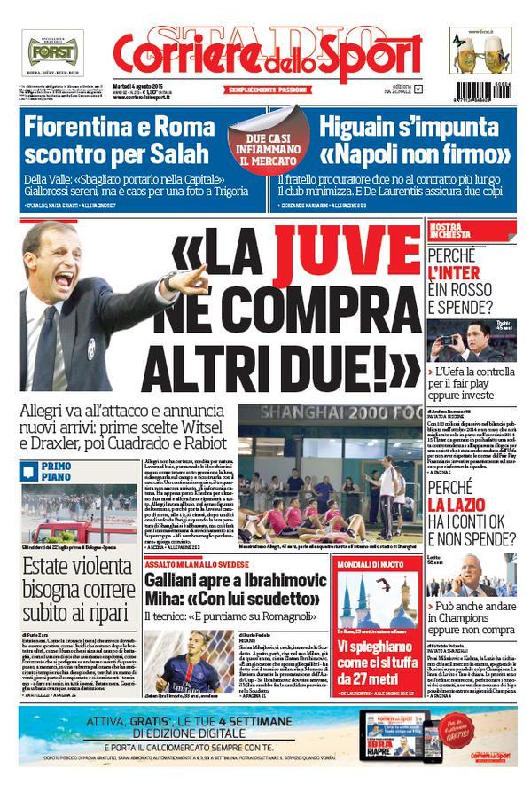 Portada de Corriere dello Sport de 04 de Agosto de 2015